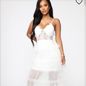 fashion nova white tulle ruffle dress